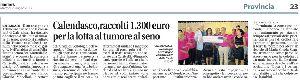 CALENDASCO, RACCOLTI 1.300 EURO PER LA LOTTA AL TUMORE AL SENO