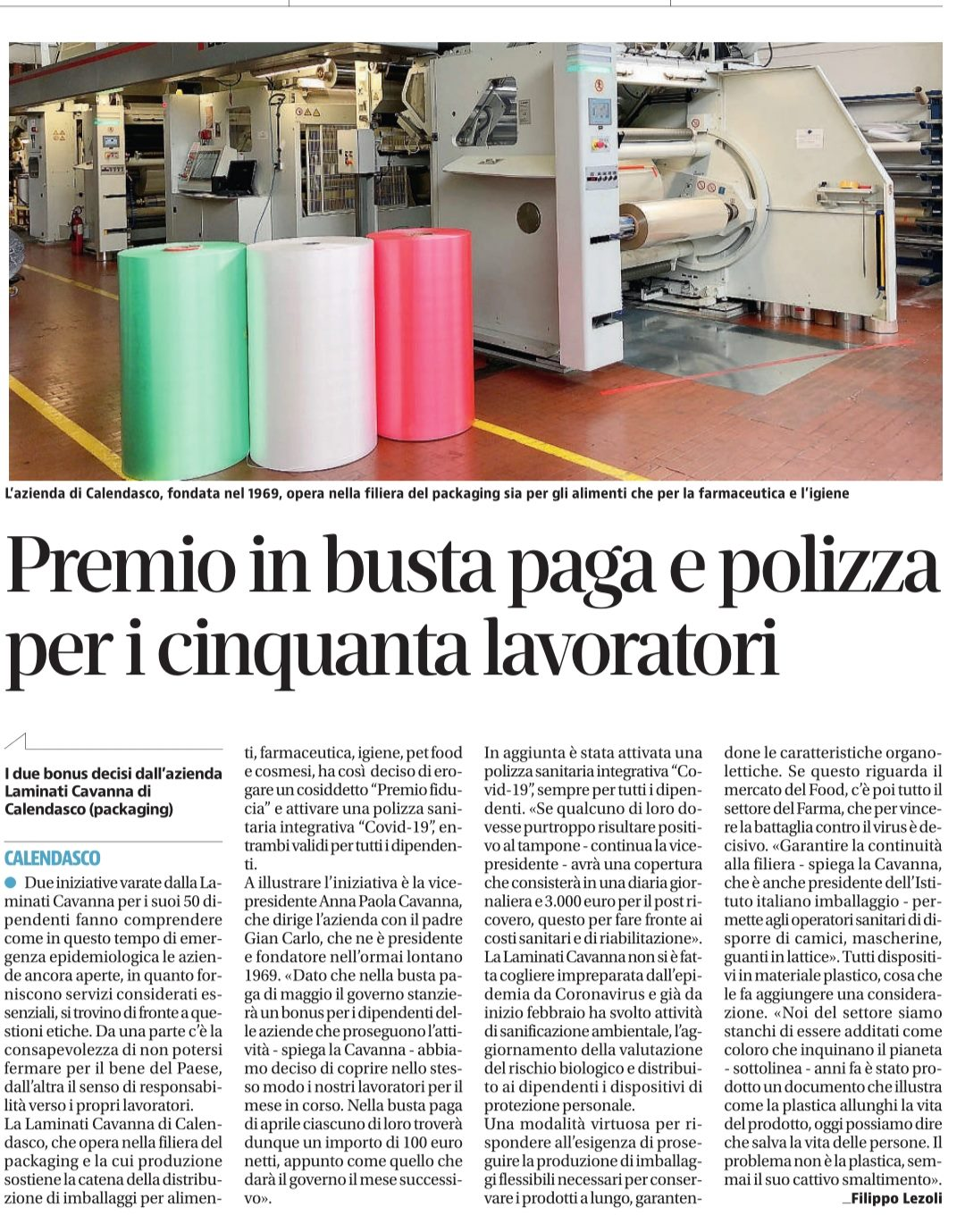 Laminati Cavanna citata da diversi giornali